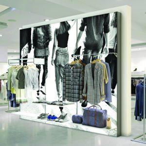 Textile Frame per l'arredo di punti vendita
